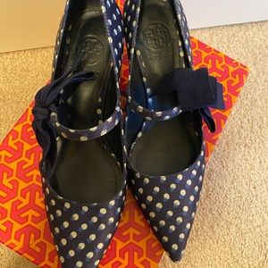 Tory Burch blue shoes.